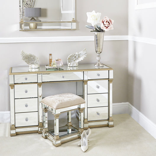 Athena Champagne Silver Venetian Mirrored Dressing Table (134 x 45 x 71.5cm)