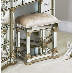 Athena Champagne Silver Mirrored Stool (42 x 33 x 50.5cm)