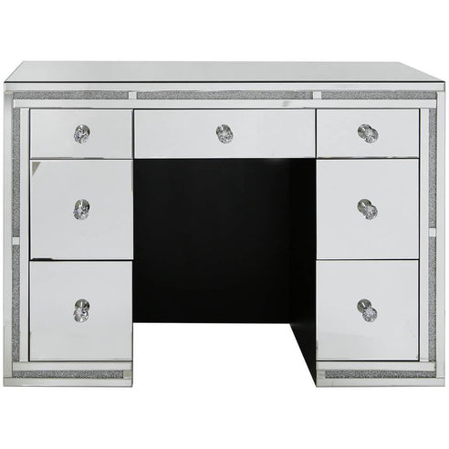 Turin Silver Mirrored 7 Drawer Dressing Table (120 x 44 x 85cm)