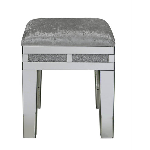 Turin Silver Mirrored Stool (45 x 43 x 46cm)