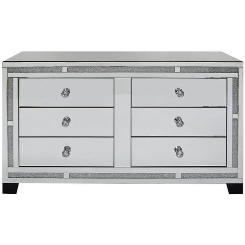 Turin Silver Mirrored Chest of 6 Drawers (130 x 44 x 74cm)