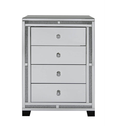 Turin Silver Mirrored Chest of 4 Drawers (76.5 x 45 x 106.5cm)