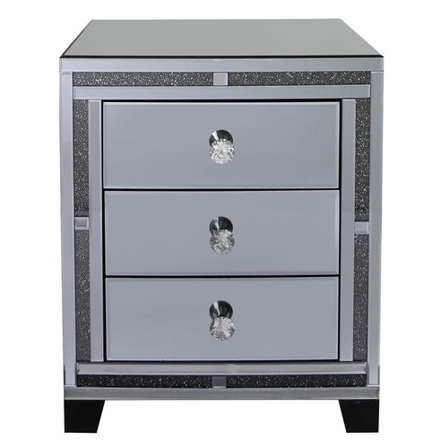 Turin Smoked Black Mirrored 3 Drawer Bedside Chest (56 x 45 x 66cm)