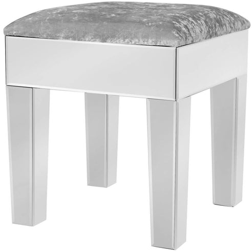 Astra Mirrored Stool with Velvet Upholstered Top (45 x 43 x 46cm)