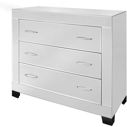 Astra Mirrored Chest of 3 Drawers with Gemstone Handles (105 x 45 x 89.5cm)