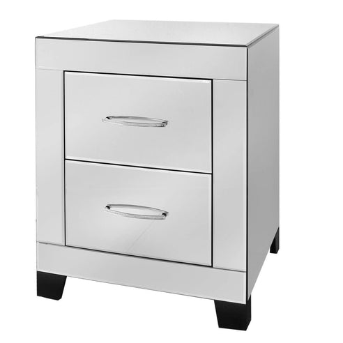 Astra Mirrored 2 Drawer Bedside Cabinet with Gemstones (47 x 42 x 61cm)