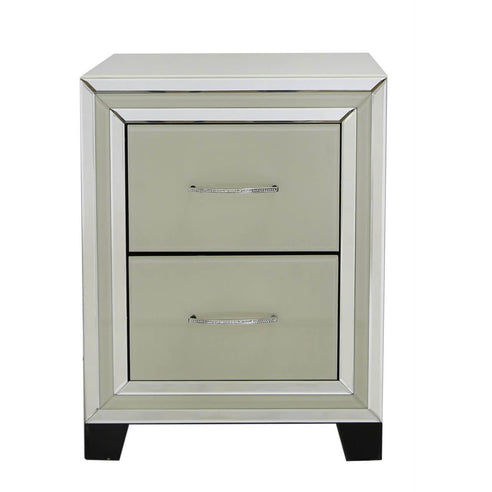 Cream Metro Bedside Chest of 2 Drawers (47 x 42 x 61cm)