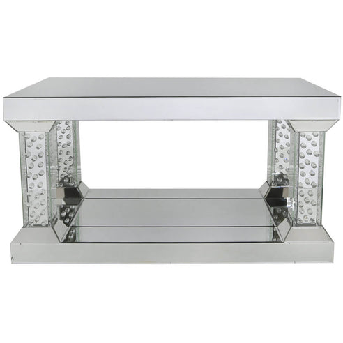 Art Deco Venetian Mirrored Savoy Coffee Table with Column Legs (90 x 60 x 47cm)