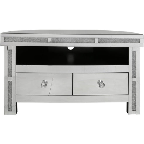 Turin Silver Mirrored Corner TV/Entertainment Unit (96 x 56 x 56cm)