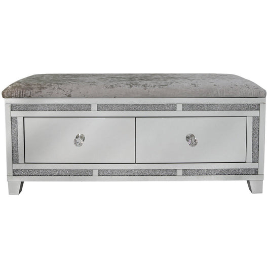 Turin Silver Mirrored Bench with 2 Drawers (112 x 41 x 49cm)