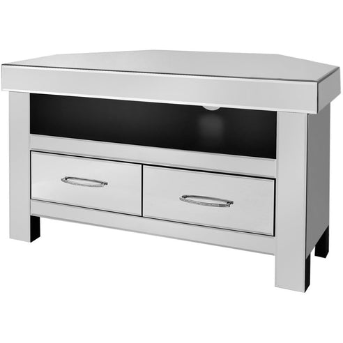 Astra Mirrored 2 Drawer Corner TV/Entertainment Unit (96 x 56 x 56cm)
