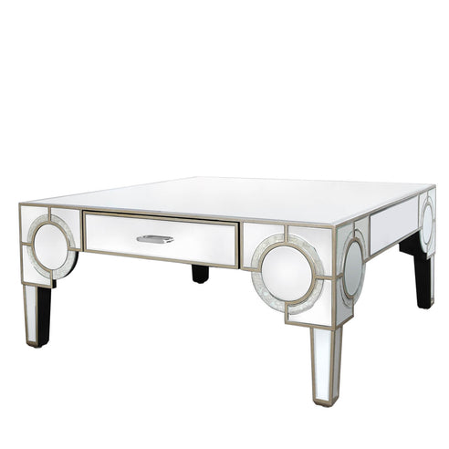 Berkeley Venetian Mirrored 2 Drawer Coffee Table (105 x 105 x 45cm)