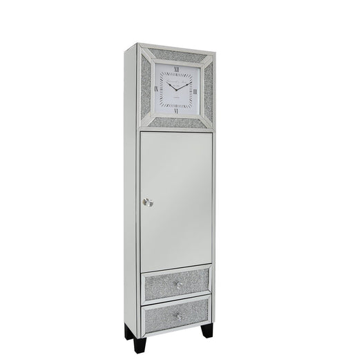 Turin Silver Mirrored 1 Door/2 Drawer Grandfather Clock (50 x 40 x 180cm)