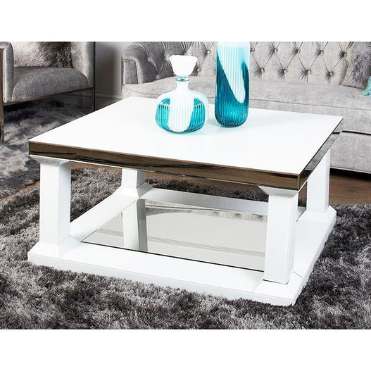 White Metro Large Mirrored Coffee Table (110 x 80 x 51cm)