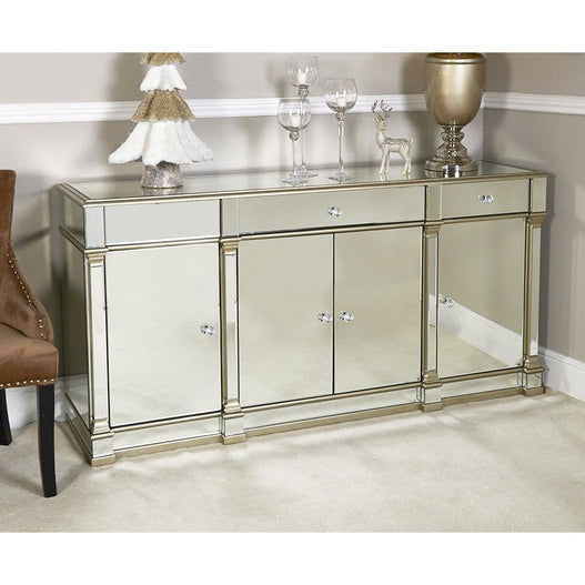 Athena Champagne Silver Mirrored 4 Door 3 Drawer Sideboard (180 x 48 x 89.5cm)