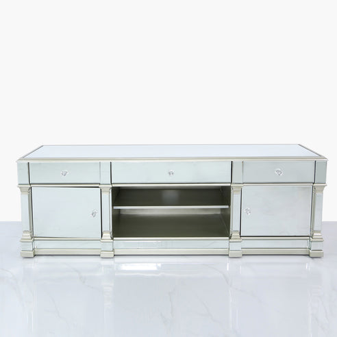 Athena Silver Mirrored Large TV Media Unit (180 x 50 x 60cm)