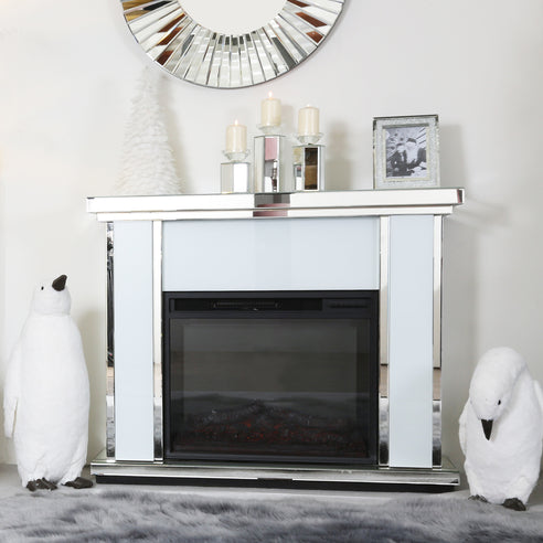 White Metro Mirrored Fire Surround with Electric Fire (Set) (120 x 34 x 99cm)