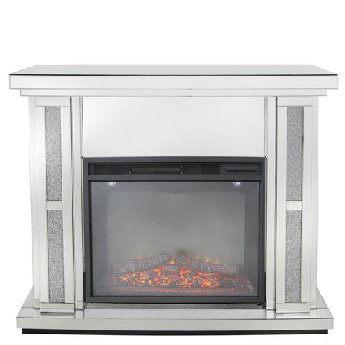 Turin Silver Mirrored Fire Surround with Electric Fire (set) (120 x 34 x 99cm)