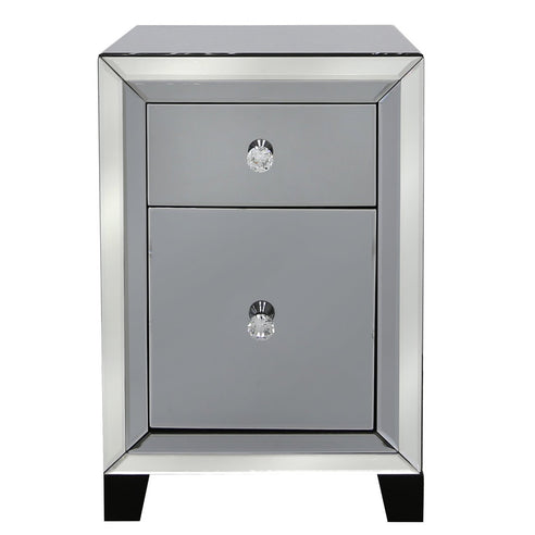 Oscar Smoked and Clear Mirrored 2 Drawer Bedside Chest (56 x 35 x 38cm)