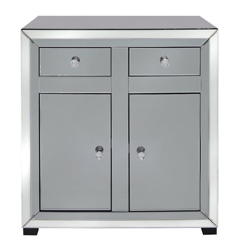Oscar Smoked and Clear Mirrored 2 Drawer 2 Door Cabinet (78 x 35 x 70cm)