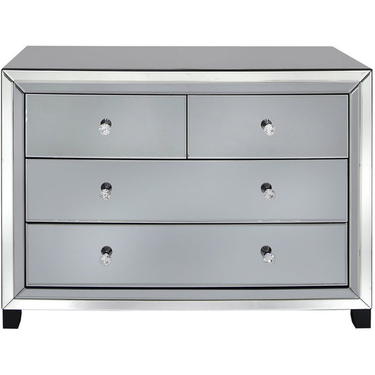 Oscar Smoked and Clear Mirrored Chest of 4 Drawers (71 x 40 x 100cm)