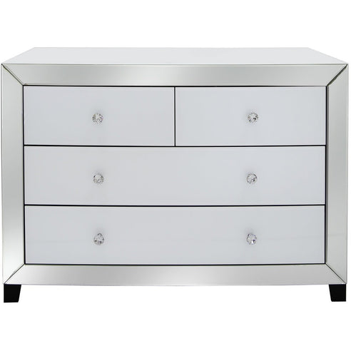 Oscar White and Clear Mirrored Chest of 4 Drawers (71 x 40 x 100cm)