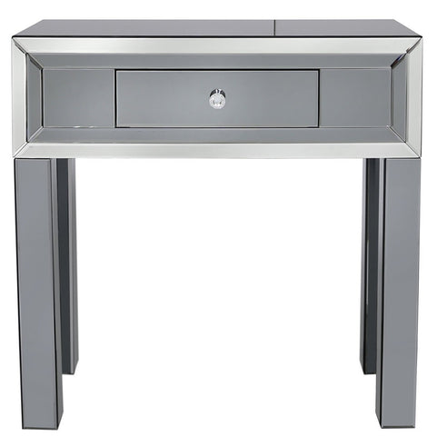 Oscar Smoked and Clear Mirrored 1 Drawer Console Table (80 x 33 x 80cm)