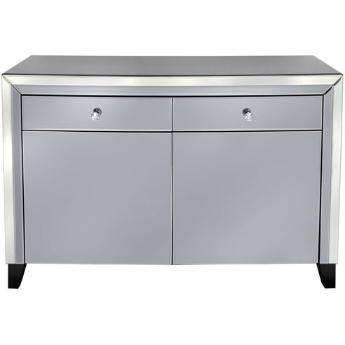 Oscar Smoked and Clear Mirrored 2 Drawer 2 Door Sideboard (79 x 35 x 120cm)