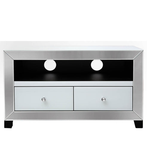 Oscar White and Clear Mirrored Entertainment Unit (60 x 32.5 x 100)