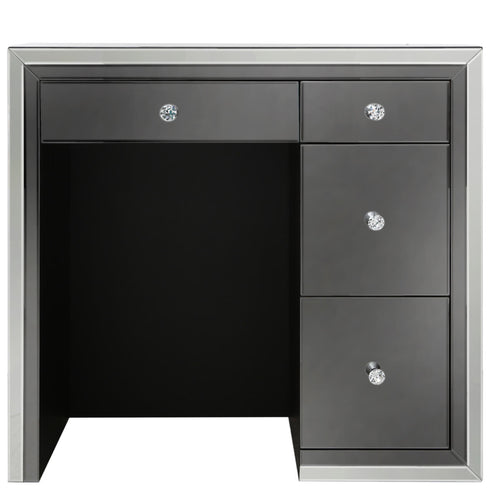 Oscar Smoked and Clear Mirrored 4 Drawer Dressing Table (85 x 40 x 91cm)