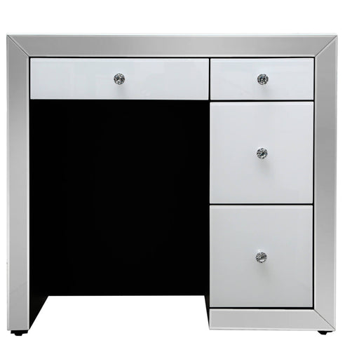 Oscar White and Clear Mirrored 4 Drawer Dressing Table (85 x 40 x 91cm)