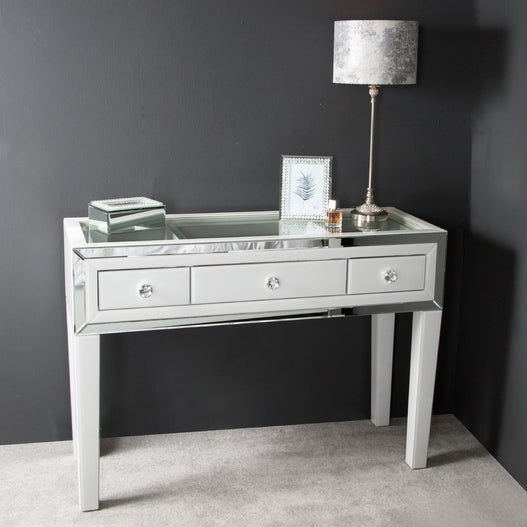 White Metro Mirrored 3 Drawer Display Console Table (120 x 44 x 85cm)