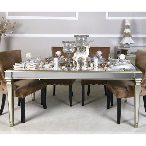 Athena Champagne Silver Mirrored 6 Seater Dining Table (180 x 100 x 77cm)
