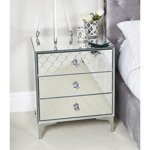 Mistral Venetian Mirrored 3 Drawer Bedside Table (56 x 45 x 66cm)