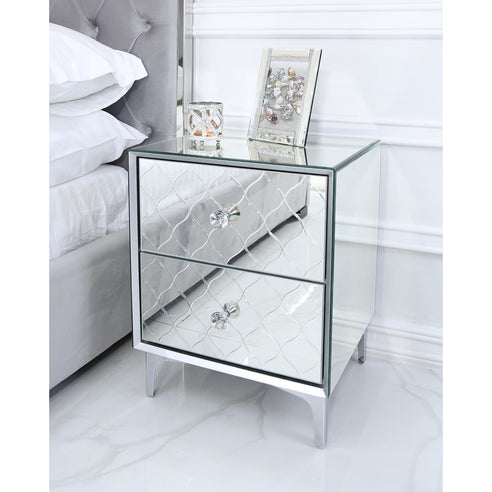 Mistral Venetian Mirrored 2 Drawer Bedside Table (47 x 42 x 61cm)