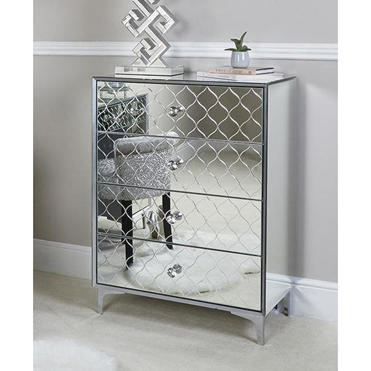 Mistral Venetian Mirrored 4 Drawer Tallboy Chest (76.5 x 45 x 106.5cm)