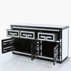 Metropolis Art Deco Venetian Mirrored Sideboard - Black (145.5 x 46.5 x 79cm)