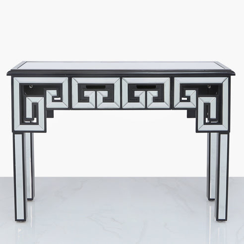 Metropolis Art Deco Venetian Mirrored Console Table - Black (115 x 36 x 80cm)
