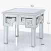 Metropolis Art Deco Venetian Mirrored Side Table - Silver (60 x 60 x 51cm) - Clearance
