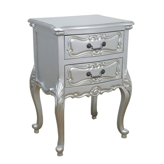 Silver Rococo Carved Bedside Table