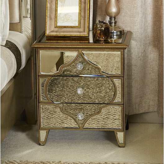 Casablanca Antique Venetian 3 Drawer Bedside Table (51 x 40 x 65cm) - CLEARANCE SECONDS