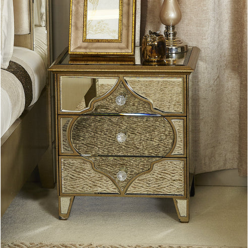 Casablanca Antique Venetian 3 Drawer Bedside Table (51 x 40 x 65cm)