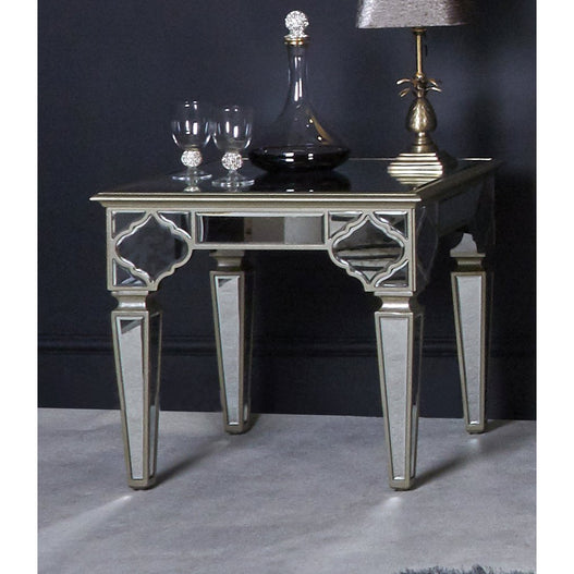 Casablanca Antique Venetian Glass Mirrored Side Table (60 x 60 x 55cm)