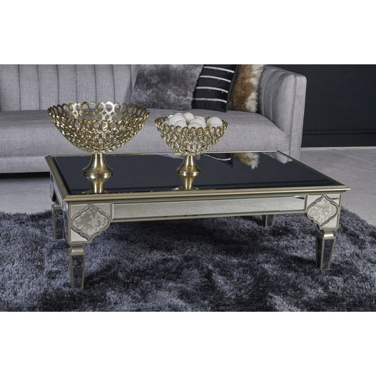 Casablanca Antique Venetian Glass Mirrored Coffee Table (120 x 70 x 45cm)