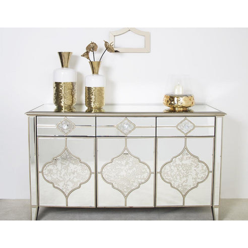 Casablanca Antique Venetian Glass 3 Small Sideboard (127 x 40 x 80cm)