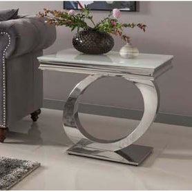 Vida Orion White Glass Polished Stainless Steel Side Table ( 60 x 60 x 55cm )