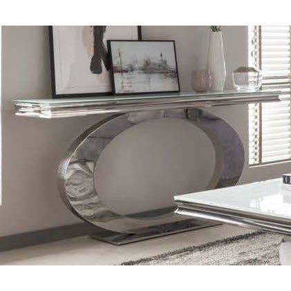 Vida Orion White Glass Polished Stainless Steel Console Table ( 140 x 45 x 75cm )