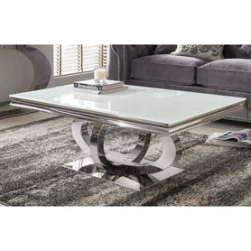 Vida Orion White Glass Polished Stainless Steel Coffee Table ( 130 x 70 x 45cm ) - CLEARANCE