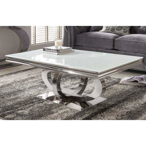 Vida Orion White Glass Polished Stainless Steel Coffee Table ( 130 x 70 x 45cm )- CLEARANCE