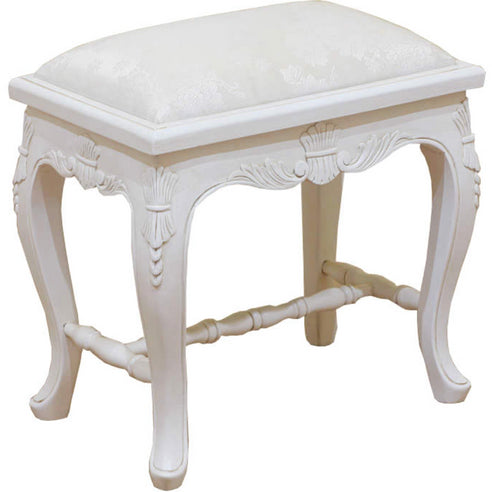 Antique White Rococo Hand Carved French Dressing Stool (58 x 36 x 53cm)